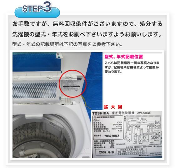 ご連絡いただく前に処分したい洗濯機の年式を調べてください。